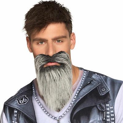 Rocker Bart Grau-Schwarz selbstklebend, Fakebart für Karneval - Grauen Bart Kostüm