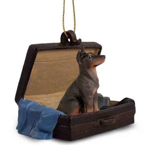 Doberman Red Crop Traveling Companion Dog Figurine In Suit Case Ornament