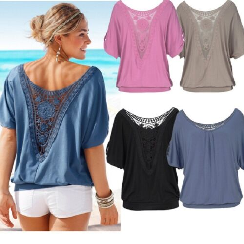Damen Sommer Kurzarm Longshirt T-Shirt Longtop Bluse Hohle Hemd Top Übergroße