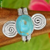TURQUOISE HAND SET in Handmade 925 STERLING SILVER RING Sz 9