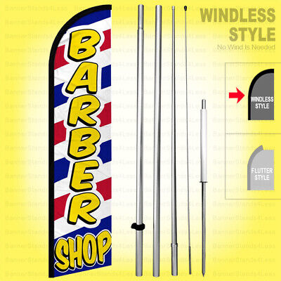 Barber Shop - Windless Swooper Flag Kit 15 Tall Feather Banner Sign Wf338-h