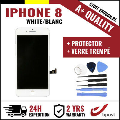 A+ LCD TOUCH SCREEN/SCHERM/ÉCRAN WHITE BLANC & VERRE TREMPÉ + TOOLS FOR IPHONE 8