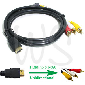 HDMI Male To 3 RCA RGB Male Video Audio AV Adapter Cable For HDTV DVD Player