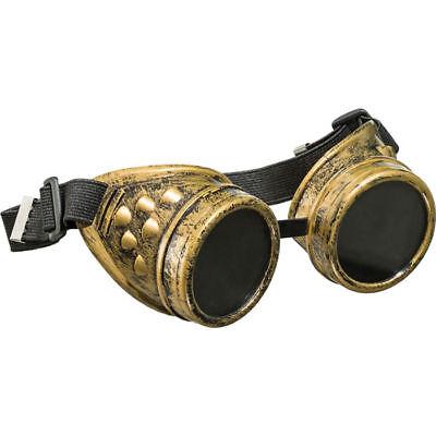 Brille Steampunk, bronzefarben, mit schwarzen Gläsern, ideales Kostümzubehör