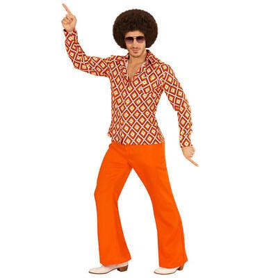 Herren-Kostüm Hemd Rhombus, tolles Hippiehemd mit 70er Muster für Karneval