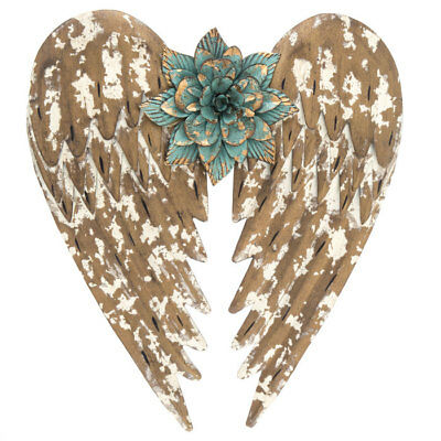 (Flower Angel Wings Metal Wall Decor.Gold Finish W. turquoise Flower Home Decor )