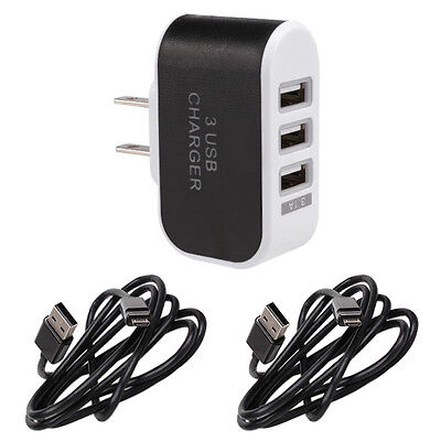 (Home AC Wall Outlet To USB Power Adapter Triple Socket 3 Port Fast Rapid Charger)