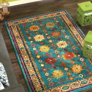 Beautiful Brand New Large Teal Wool Rug- Hand Tufted