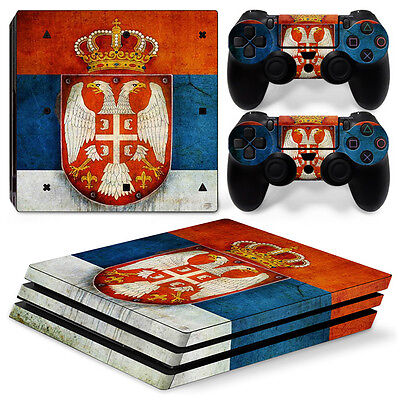 Sony PS4 PlayStation 4 Pro Skin Sticker Screen Protector Set - Serbia Motif
