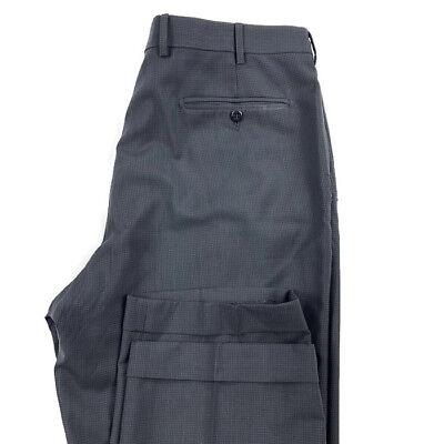 Zanella Mens 36X30 Black Bennett Mark Shale Black Pleated 100% Wool Dress Pants