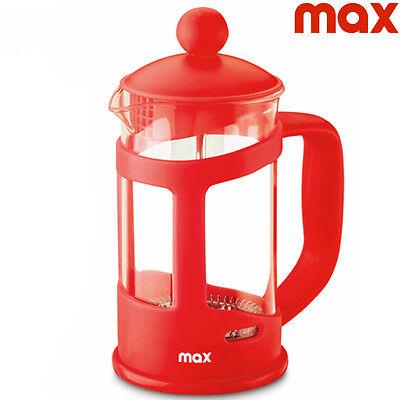 Teiera Tisaniera 800 ml in Vetro e Plastica Rosso Bianco Schiumatore Infusi Max