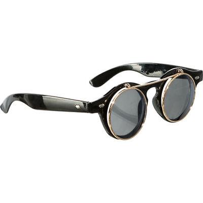 Brille mit Klappen, schwarz, 1 Stück Klappenbrille, ideal fürs Karnevalskostüm