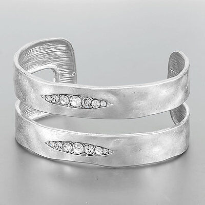 Simple Silver Hammered Bohemian Design Clear Stone Open Cuff Bangle - Hammered Design Bangle