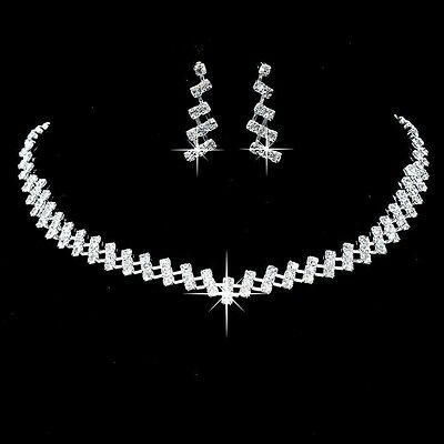 Alloy Silver Plated Rhinestone Necklace, Earrings Bridal Wedding Jewelry Set