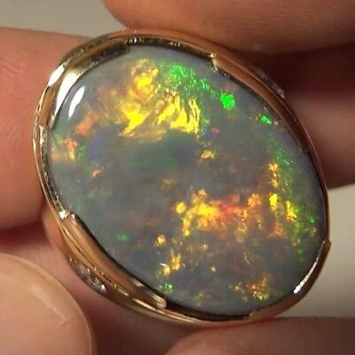 18 23 Ct Black Opal Lightning Ridge Australia Solid 18 Kt Gold Appraised  56 900