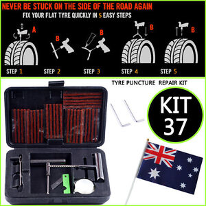 TYRE PUNCTURE REPAIR TOOL KIT 37 PIECE TIRE 4X4 4WD OFF ROAD PLUGS TUBELESS