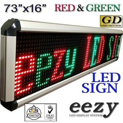 Eezy Led Sign 2colors 73x16 Outdoor Indoor Programmable Message Display Banner