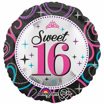 Folienballon Sweet 16 Sparkle, 45 cm Sechzehnter Geburtstag    ()
