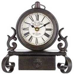 Table Clock Bronze Metal With Drawer Antique Look Roman Numerals, Desk Mantle 8