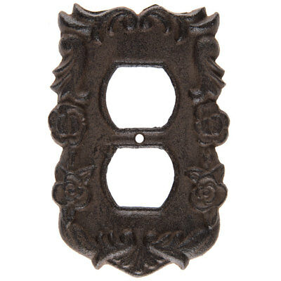 Rust Floral Swirl Cast Iron Outlet Cover - Cast Iron Outlet