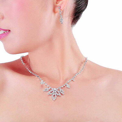 Silver Plated Rhinestone Leaf Necklace, Earrings Bridal Prom Jewelry Set
