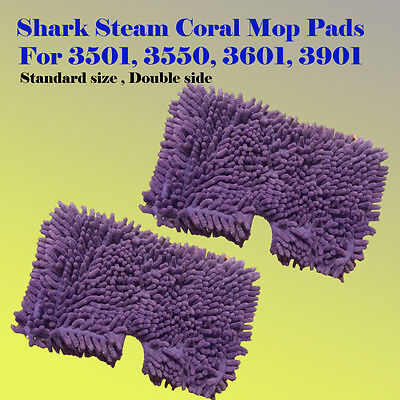 Used, 2x Coral Steam Mop Cleaning Microfiber Pad For Shark S3501 S3601 S3901 S3550  for sale  Shipping to Canada