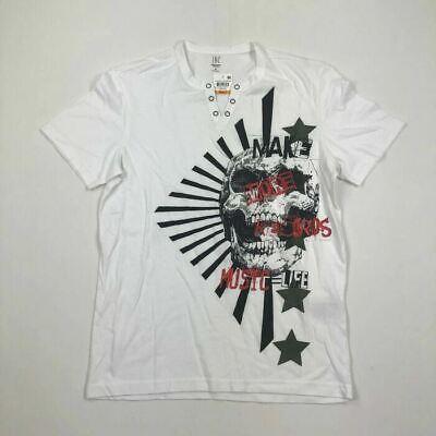 Split-neck T-shirt (INC Mens T-Shirt Split Neck Skull Graphic Music White Variety Sizes)