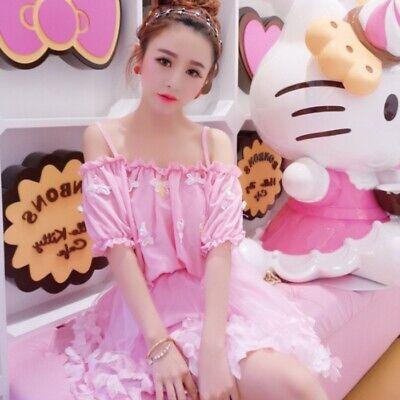 butterfly Girl Sweet Dress Kawaii Lolita Fairy Princess Puff Sleeve Skirt - Girl Fairy Dress