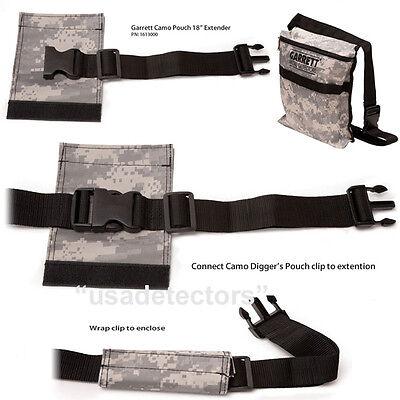 """NEW Garrett CAMO Canvas Diggers Pouch/Bag With Belt And 18"""" BELT EXTENDER"""