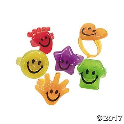 48 Glitter Smile Happy Face Rings Birthday Party Favors Gifts Jewelry - Happy Face Birthday
