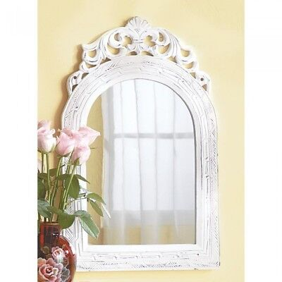Arched Top Wall Mirror Wood Framed Vintage Weathered White Finish Wall Decor NEW