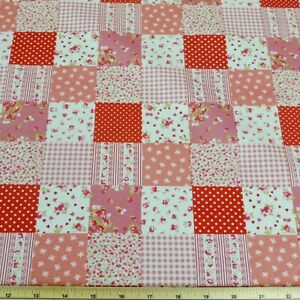 Floral Patchwork Polka Dots Cotton Fabric