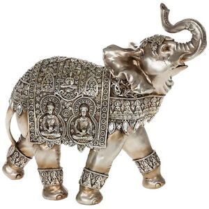 Giant silver elephant with two buddha ornate decorative ornament ebay Silver elephant home decor