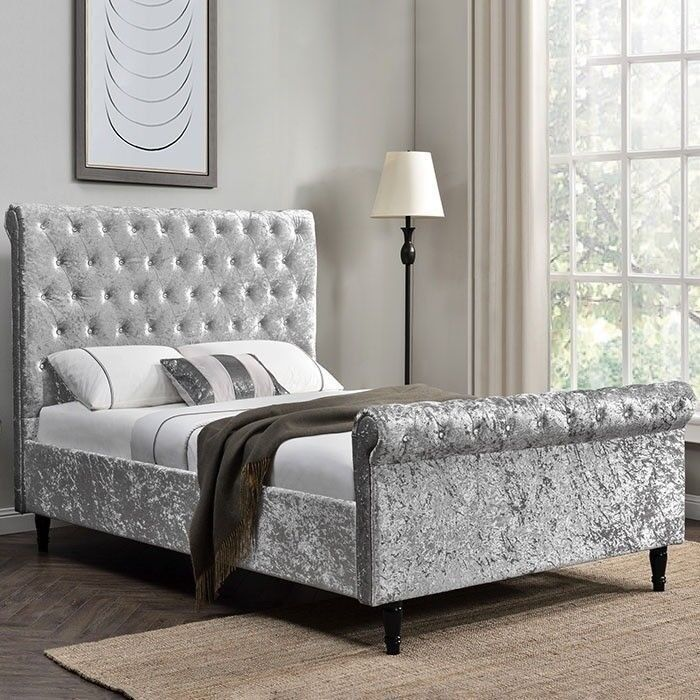 new arrival cd0aa af6dc *BEST SELLING BRAND* BRAND NEW CRUSHED VELVET SLEIGH DOUBLE BED FRAME WITH  MATTRESS RANGE   in Wembley, London   Gumtree