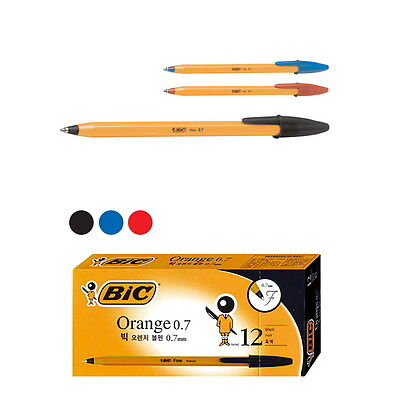 12 PCS BIC Orange Fine 0.7mm Easy Glide Ballpoint Pen 1 Box Mix Color