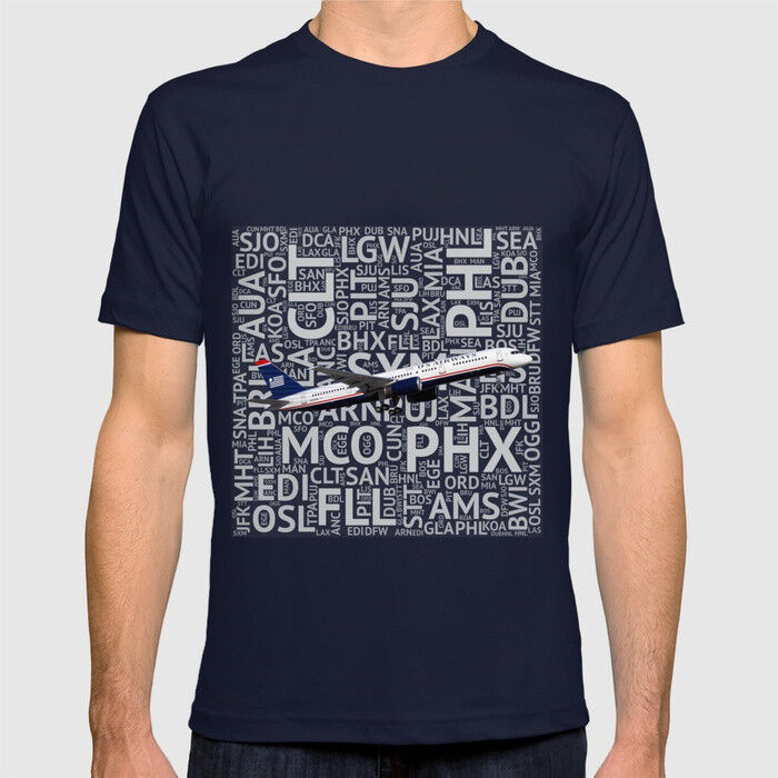 US Airways Boeing 757 with Airport Codes - T-Shirt