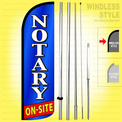 Notary On-site - Windless Swooper Flag Kit 15 Feather Banner Sign Bq-h