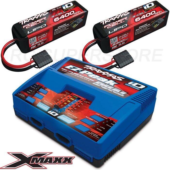 Traxxas EZ-Peak DUAL LiPo Charger /& 2x 3S 6400mAh X-MAXX 6S LIPO BATTERY COMBO