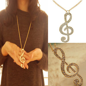 Korean Women Jewelry Crystal Music Note Rhythm Gold Long Chain Necklace Pendant