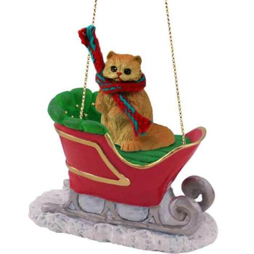 Red Persian Cat SLEIGH RIDE Ornament