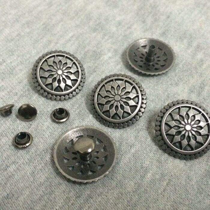 "Pkg 5 ROUND Metal Rivet Studs 3/4"" Leather Crafts 6mm (1/4"") post (1029) Concho"