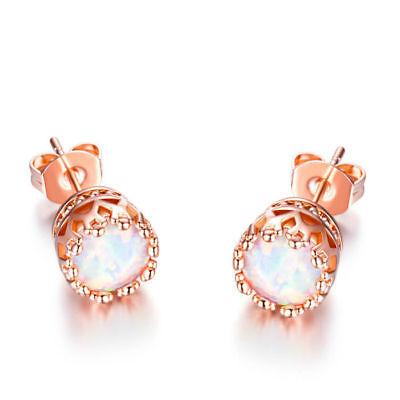 Fire Opal Crown Stud Earrings in 18K Rose Gold Plated