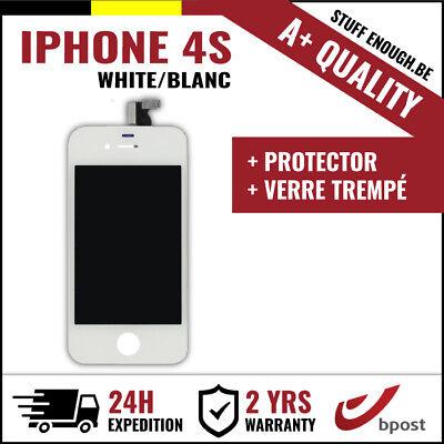 A+ LCD VITRE TACTILE SCREEN/SCHERM/ÉCRAN WHITE BLANC &VERRE TREMPÉ FOR IPHONE 4S