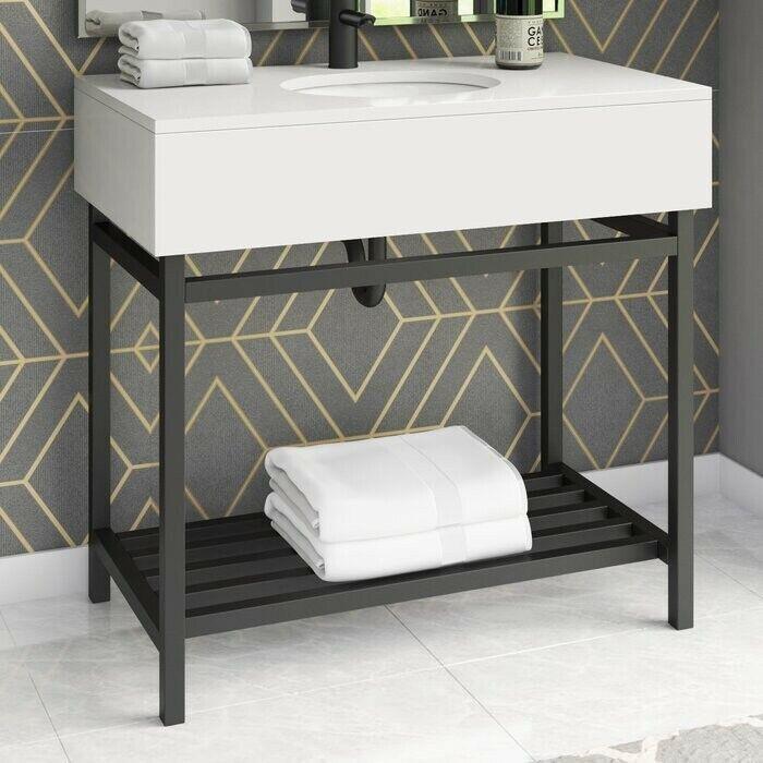 """Clynton 36"""" Single Bathroom Vanity Set - white sink & black metal base - NEW!!!"""