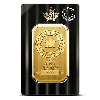 1 Troy Oz Royal Canadian Mint (RCM) Gold Bar .9999 Fine - Sealed in Assay Card