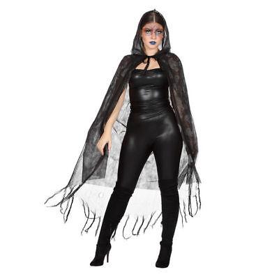Umhang Totenköpfe mit Kapuze, Halloween Kostüm Karneval Hexen Verkleidung