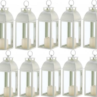 Lot 10 Ivory Lantern Distressed Candleholder Wedding Centerpieces ](Ivory Lanterns)