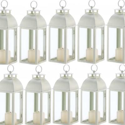 Lot 10 Ivory Lantern Distressed Candleholder Wedding Centerpieces