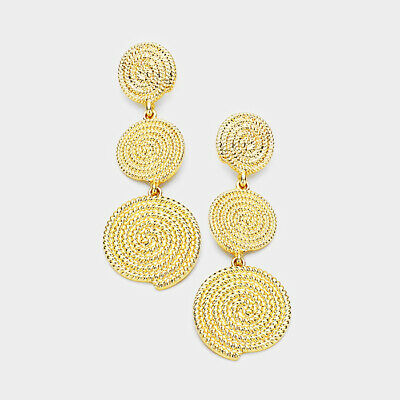 Designer Inspired Triple Swirl Metal Disc Link Earrings ()