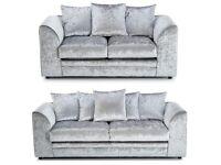 Crush velvet sofa silver Brand new always in stock